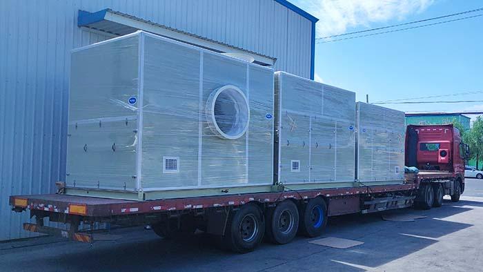 风机厂家:磐力风机三台隔音箱玻璃钢风机发往湖南除臭项目