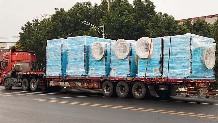 风机厂家:磐力六台隔音箱玻璃钢风机发往山东除臭项目