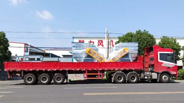 风机厂家:磐力两台离心式通风机运往上海烟气处理