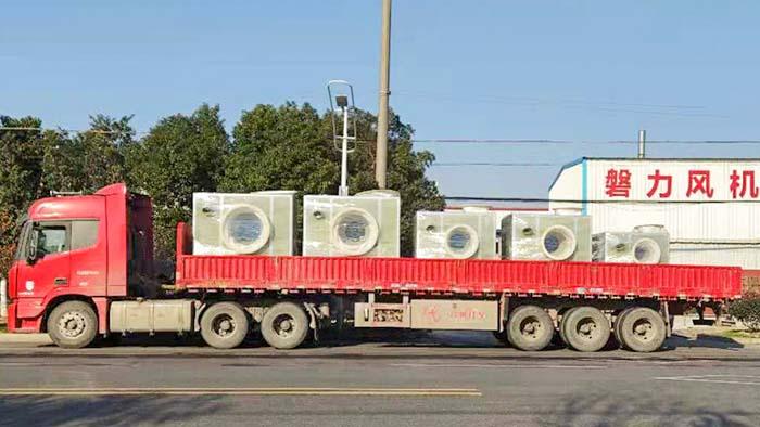 风机厂家:磐力五台隔音箱玻璃钢风机发往浙江污水项目
