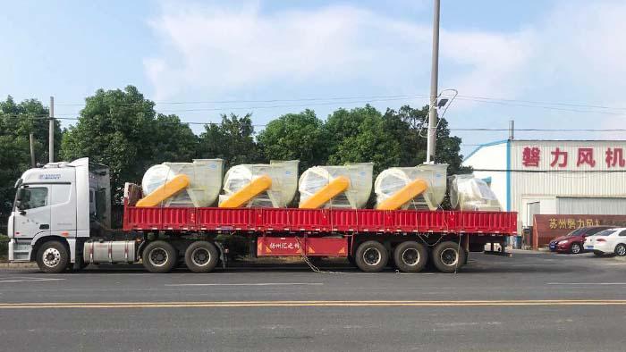 风机厂家:磐力风机五台玻璃钢风机发往江苏扬州酸洗项目