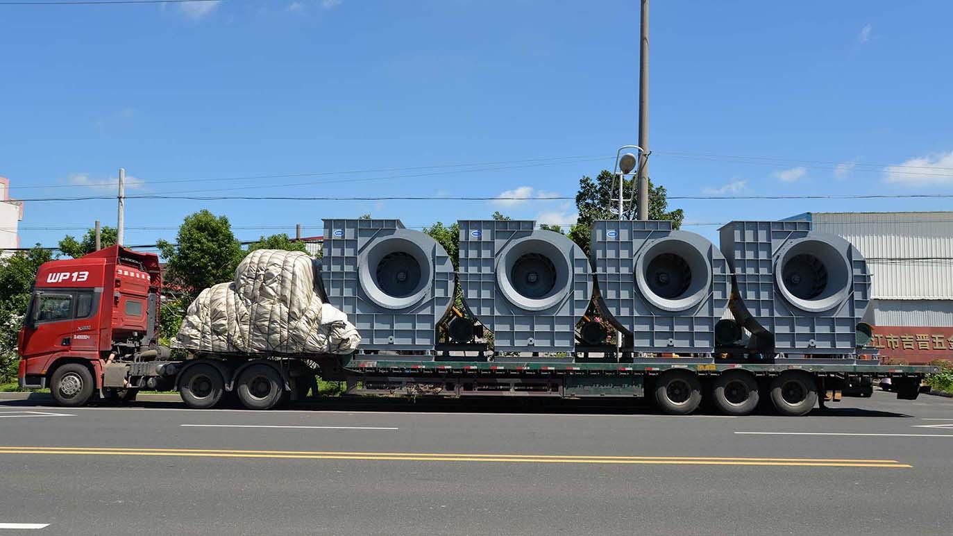 风机厂家:磐力7台离心通风机运往昆山废气处理项目